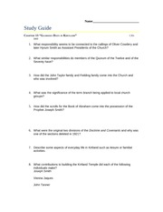 13. Glorious Days in Kirtland Study Guide