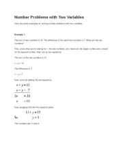 Number Problems with Two Variables