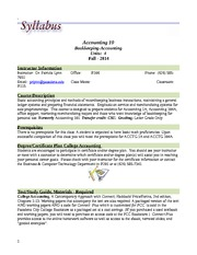 Syllabus for Accounting 10 - Fall 2014