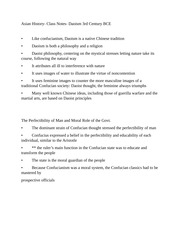 Asian History- Class Notes- Daoism 3rd Century BCE