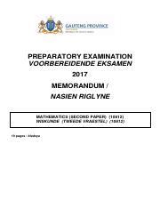 10611 Math P1 Eng MEMO pdf - PREPARATORY EXAMINATION 2017 MARKING