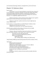 Abnormal Psychology Chapters 11,12,13