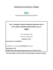 CIS224 Object Oriented Programming using C# Assessment Test September 2015 Paper.doc