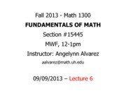 Lecture 6 - Math 1300 - 090913 - FILLED
