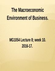 MG1054 Lecture 8 Wk 10 Macro Econ Fiscal & Money Policy 2016-17