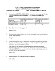 Situation and Media Assessment Worksheet