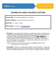 Mgmt X410 Business Applications of Calculus Syllabus