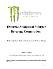 Monster Beverage Corp Analysis - MCE Section 01 Group 08