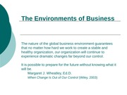 Understanding the Business Enviornment