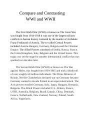 English 3 B Sect201 Final Project: Compare and Contrasting WW1 and WW2