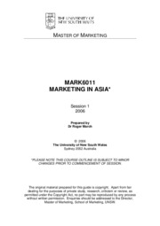 MBA - Marketing - Australian Example