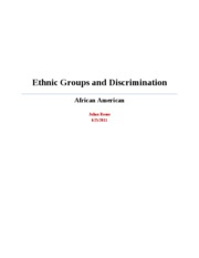 Ethnic Groups and Discrimination