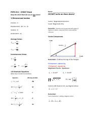 PHYS_211_ALL_Chapters - PHYS 211 CHEAT Sheet Name Keep this cheat