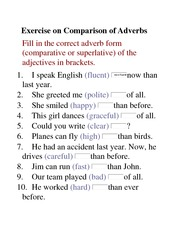 Exercise on Comparison of Adverbs