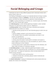 Social Belonging and Groups