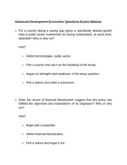 Advanced Development Economics Questions Exam Material