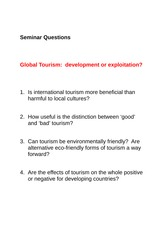 Global Tourism - Seminar Questions