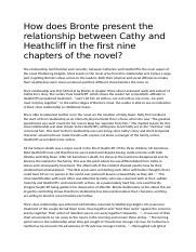How does Bronte present the relationship between Cathy and Heathcliff in the first nine chapters of