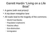 11.9.07 Hardin Living on a lifeboat