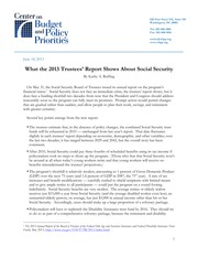 What the 2013 Trustees' Report Shows About Social Security