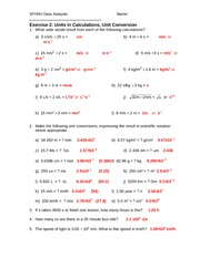 Exercise2 - Units in Calculations, Conversions-Answers