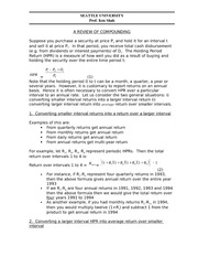 Lecture Notes on Compounding Returns