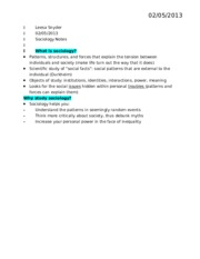 sociology chapter 1 notes