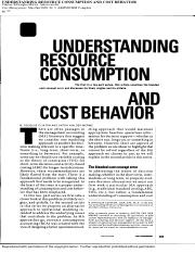 Understanding Resource Consumption And Cost Behavior
