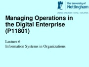 Lecture 6 Information Systems in Organizations