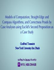 1-Models of Computation, Straight-Edge and Compass Algorithms, and Correctness Proofs by Case Analys