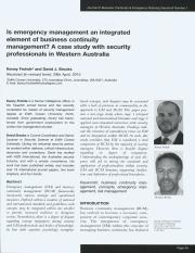 Is emergency management an integrated element of business continuity management_ A case study with s