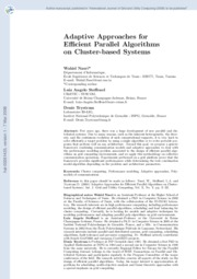 adaptive approaches for efficient parallel algorithms on cluster-based systems