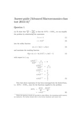 2013 Advanced Macroeconomics In-course Exam Answers (Solutions) Revision