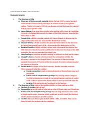 Lecture 8   Outline & NOTES Molecular Genetics