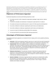 Performance Appraisals is the assessment of individual
