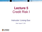 Lecture 5 Credit Risk