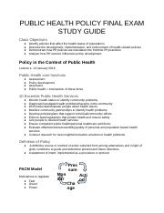 PUBLIC HEALTH POLICY FINAL EXAM STUDY GUIDE