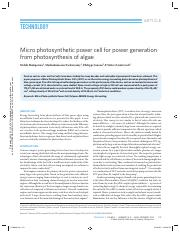Micro photosynthetic power cell for power generation from photosynthesis of algae.pdf