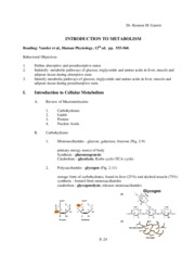 2011 Introduction to Metabolism
