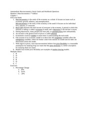 Intermediate Macroeconomics Study Guide and Workbook Questions