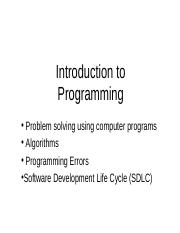 wk1 - Introduction to Programming