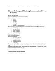 Ch. 17 Study Guide