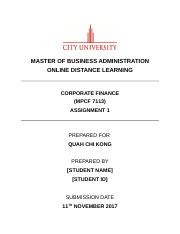 Corporate Finance Assignment 1 201709.docx
