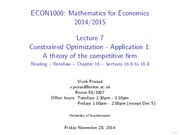 Lecture 7 - Constrained optimization - application 1 - a theory of the competitive firm