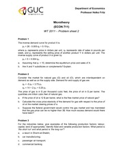 Microtheory 2011 WT - problem sheet 02