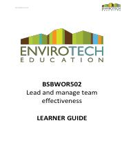 LEARNER GUIDE - BSBWOR502 - Lead and manage team effectiveness.pdf