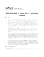 Ethical Standards for Human Service Professionals