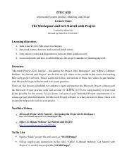 Microsoft Project Lecture Notes & Exercise 1.docx