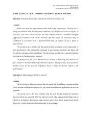 CASE STUDY 2   NUR EFFA FARWIZAH BINTI ABDUL GHANI BEN15041066 HUMAN  RESOURCE MANAGEMENT CASE STUDY ALIS INTERVIEW AT SYARIKAT ZUMAJU SDN.BHD  Question 1