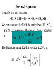 Lecture 11 - Nernst equation and Eh-pH Diagrams.ppt